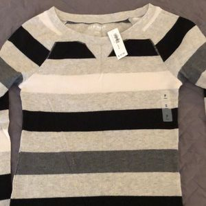 Old Navy Striped Long Sleeve Waffle Knit Top - NWT